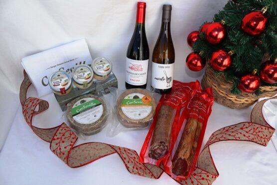 lote navidad ibéricos, vino y quesos de cabra